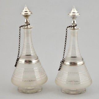 19th Century Dutch Glass Decanters with Sterling Silver - A Pair Preview