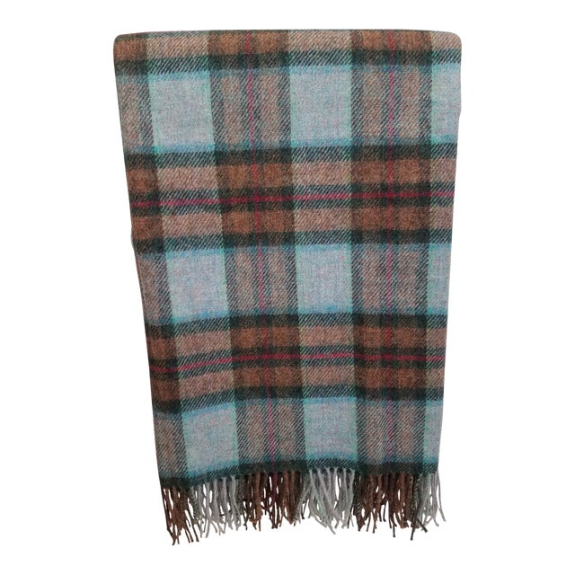 Wool Throw Red Blue Orange Plaid - Made in England For Sale