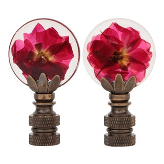 Preserved Flower Lamp Finials - a Pair For Sale