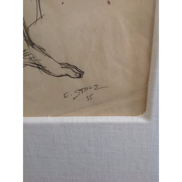 1940s Ernst Stolz Charcoal Drawing For Sale - Image 5 of 8