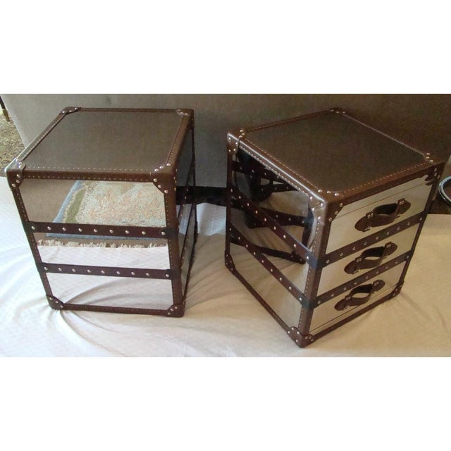 Steamer Trunk Style 3 Drawer Cube Nightstands - Pair For Sale - Image 4 of 9
