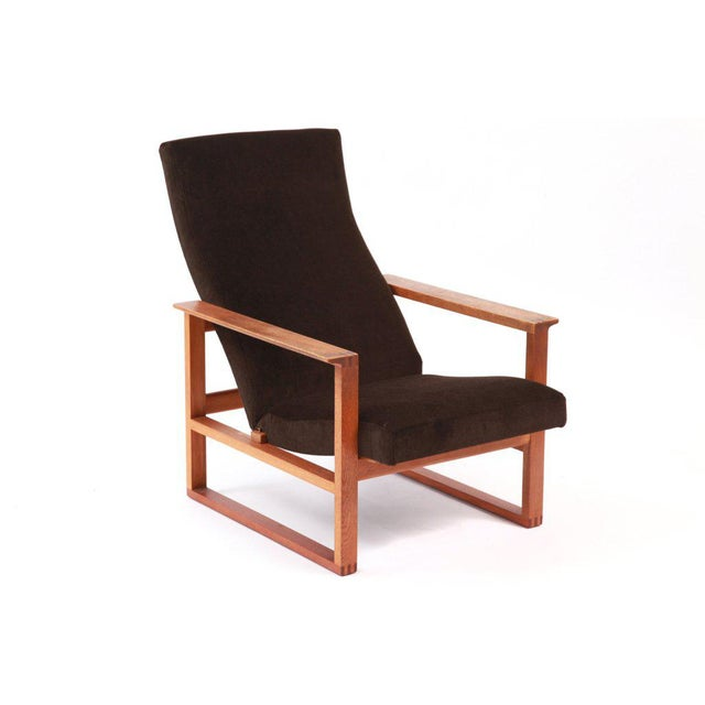 High back adjustable lounge chair by Børge Mogensen circa late 1950's. This example has tongue and groove joints and...
