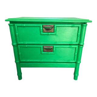 1960s Vintage Mid Century Modern Green Painted Faux Bamboo Nightstand For Sale