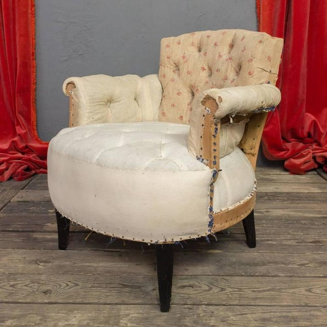 Pair of Small French Art Deco Style Tufted Armchairs For Sale - Image 4 of 10