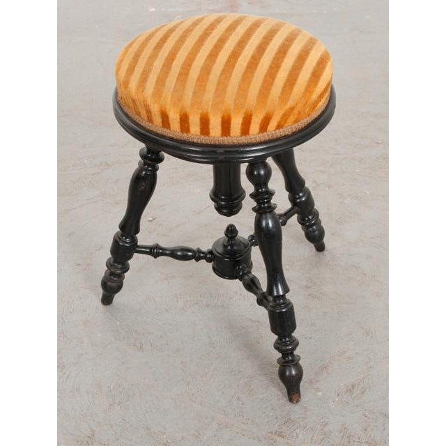 French French 19th Century Jacobean-Style Ebonized and Spool-Turned Piano Stool For Sale - Image 3 of 6