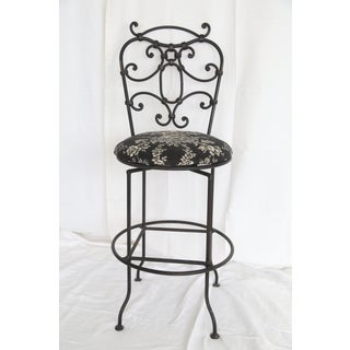 1940s Vintage Upholstered Swivel Iron Counter Stool Preview