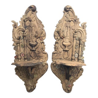 Pair ofCarved Wood Wall Brackets or Turban Stands - Kavukluk For Sale