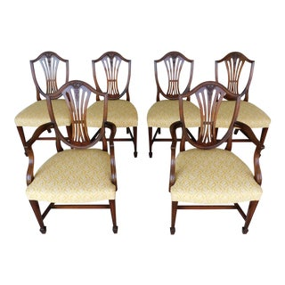 Quality Vintage Mahogany Shield Back Dining Chairs Wood & Hogan Set of 6 For Sale