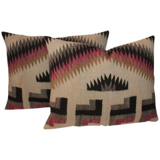 Pair of Geometric Navajo Weaving Pillows For Sale