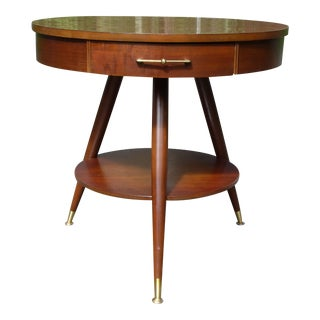Vintage Mid Century Modern Mersman Two Tier Round Tripod Drum Table For Sale