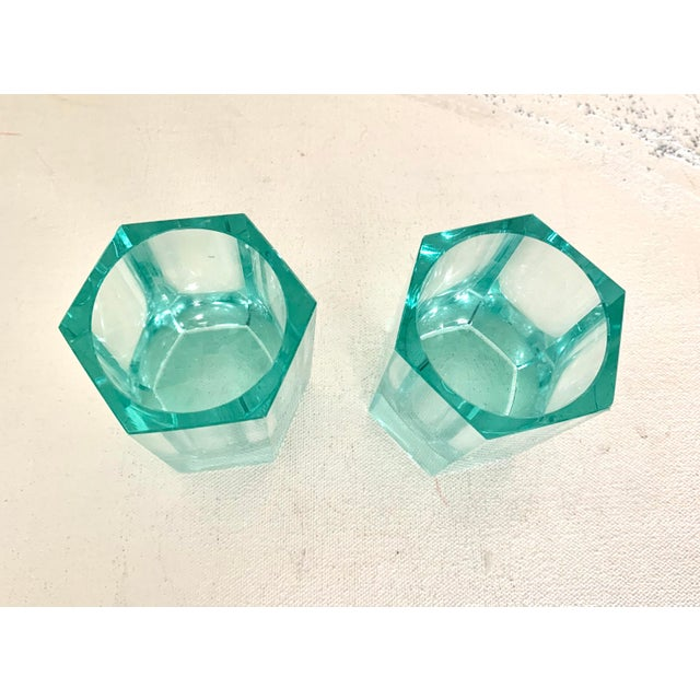 Contemporary Moser Modern Turquoise Crystal Votives - Set of 2 For Sale - Image 3 of 7