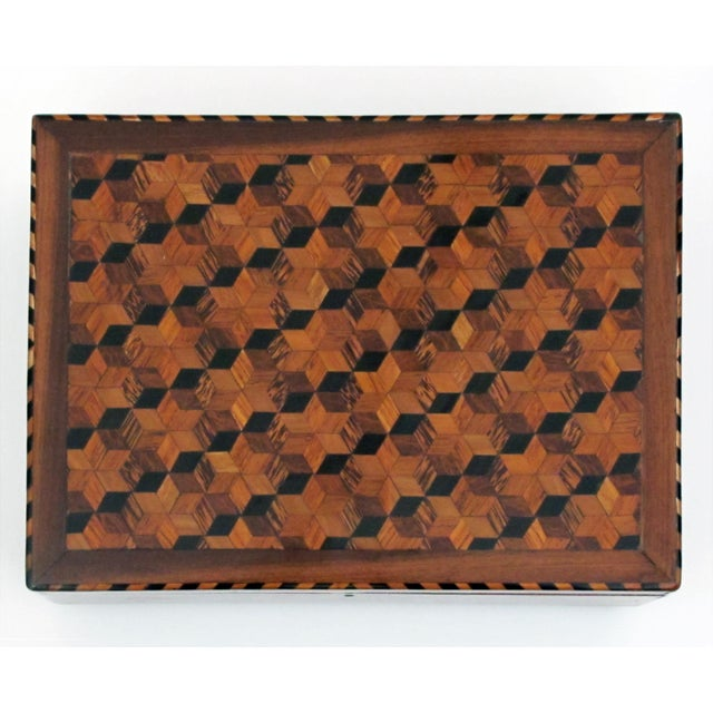 A Handsome and Warmly-Patinated English William IV Mahogany Dressing Box With Tumbling Block Inlay For Sale - Image 4 of 7