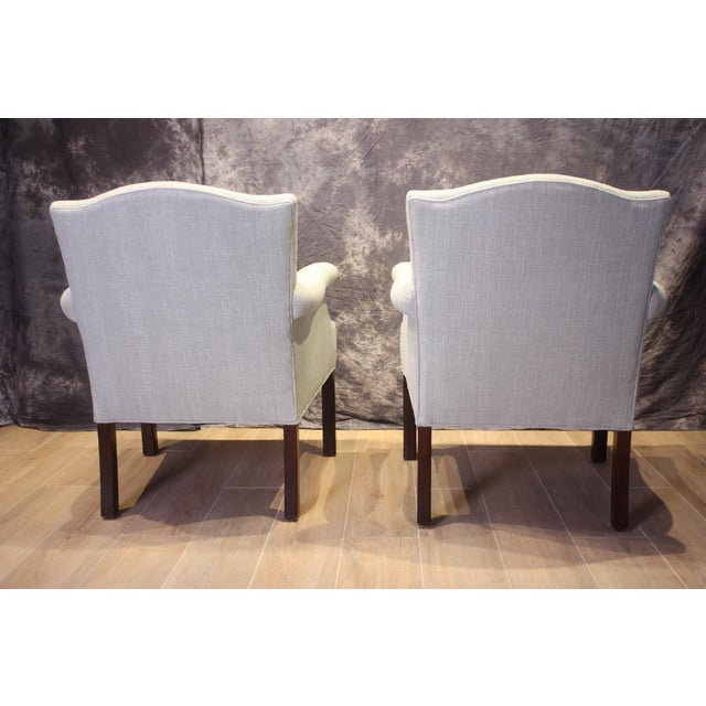 Late 20th Century Vintage Camel Back Club Chairs- a Pair For Sale - Image 4 of 9