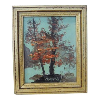 1980s Morris Katz Autumn Trees on a Lake Framed Painting For Sale
