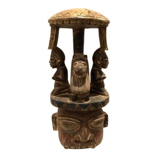 Mid-Century Modern Vintage African Tribal Carved Wood Stool For Sale