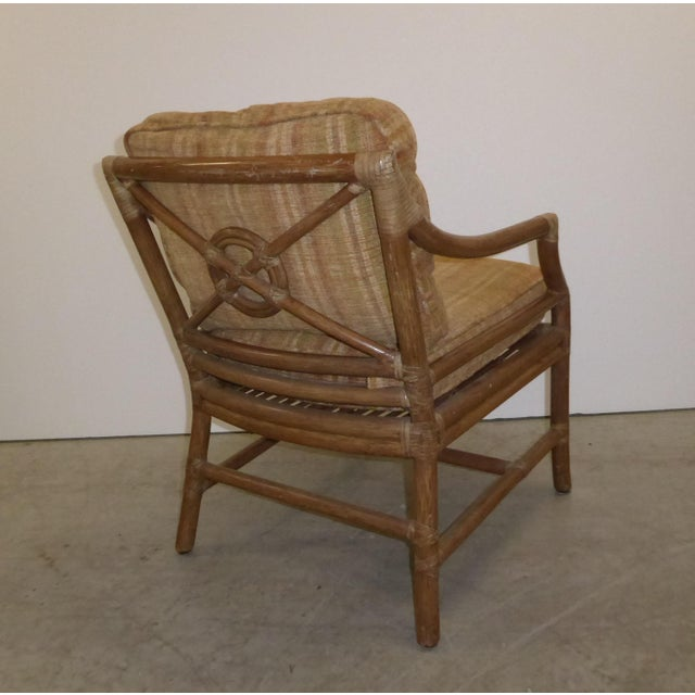 Vintage Mid Century Modern McGuire Tan Stripped Bamboo Rattan Accent Chair For Sale In Los Angeles - Image 6 of 12
