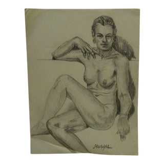 "1957 Mid-Century Modern Original Drawing on Paper, ""Nude With Earrings"" by Tom Sturges Jr."