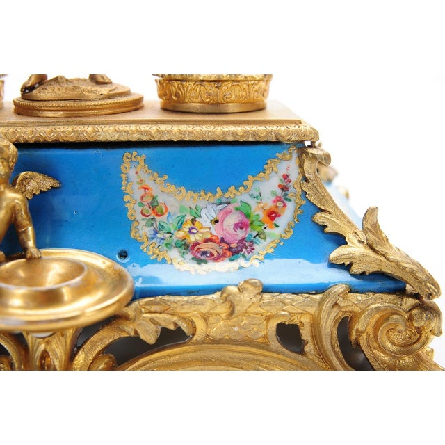 18th C. French Gilt Bronze & Porcelain Inkwell - Image 5 of 9