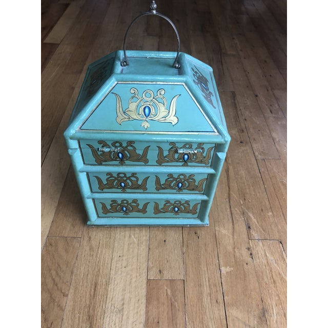 Jade Vintage Indian Hand Painted Box For Sale - Image 8 of 13