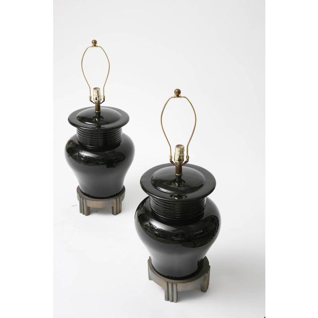 Art Deco Art Deco Revival Large-Scale Black Ceramic Vase Form Table Lamps - a Pair For Sale - Image 3 of 11