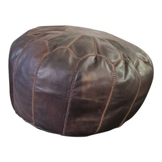 Moroccan Dark Chocolate Brown Leather Pouf For Sale
