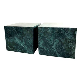 1970s Faux Granite Teal Cube Tables - a Pair For Sale