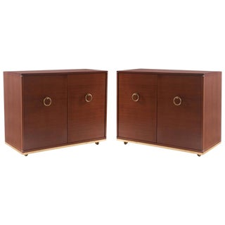 1950s Mid-Century Modern Striped Mahogany & Brass Chests - a Pair For Sale