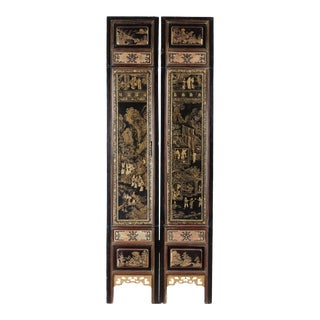 Pair of Antique Chinese Black Architecture Lacquer With Gold Illustrated Scenes From a Novel For Sale