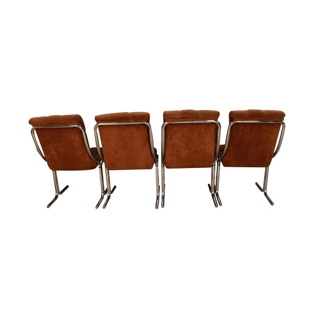 Daystrom Daystrom Mid Century Chrome High Back Dining Velour Chairs For Sale - Image 4 of 11