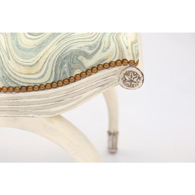1930s Pair of Painted and Parcel Silver Gilt Curule Stools For Sale - Image 5 of 6