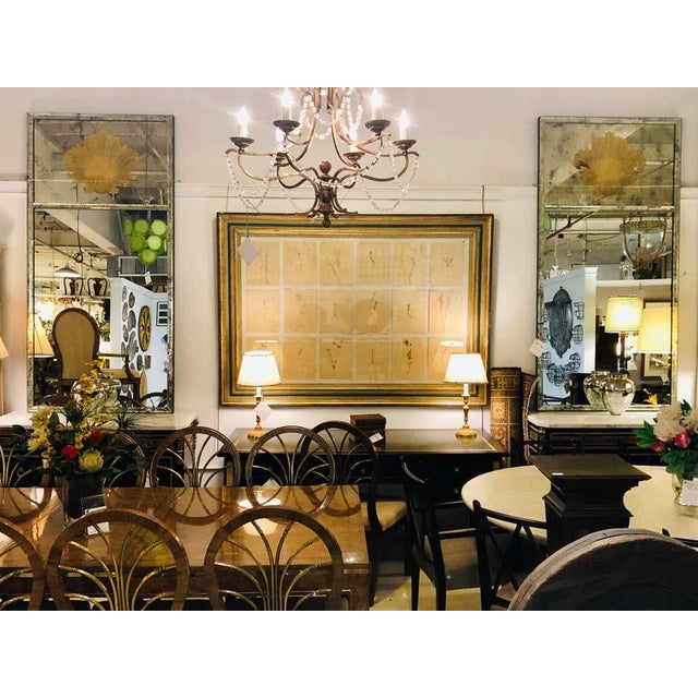 Hollywood Regency Eglomise Wall, Console Pier Mirrors Manner Maison Jansen Pair For Sale - Image 11 of 12