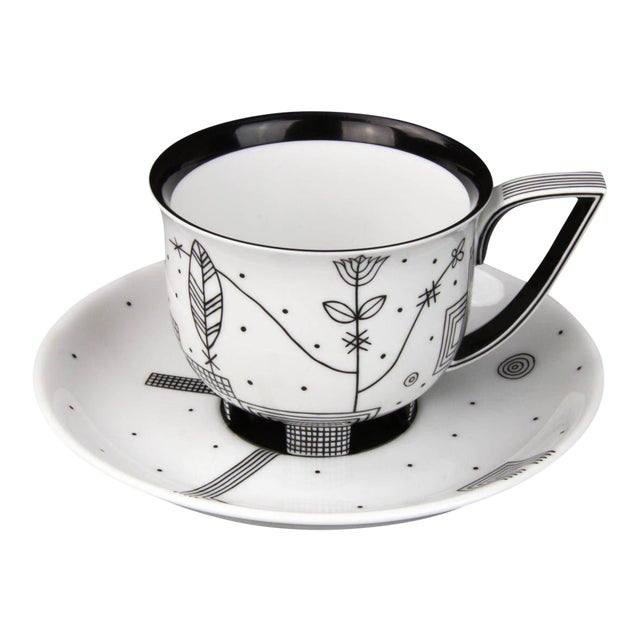 """""""Mythos"""" Coffee Cup with Saucer by Josef Hoffmann For Sale"""