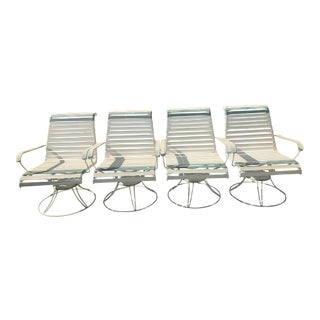 1950s Homecrest High Back Swivel Rocker Wrought Iron Patio Lounge Chairs - Set of 4 For Sale