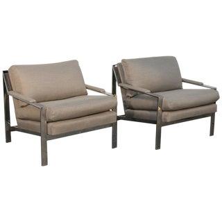 Cy Mann Chrome Flat Bar Lounge Chairs - A Pair For Sale