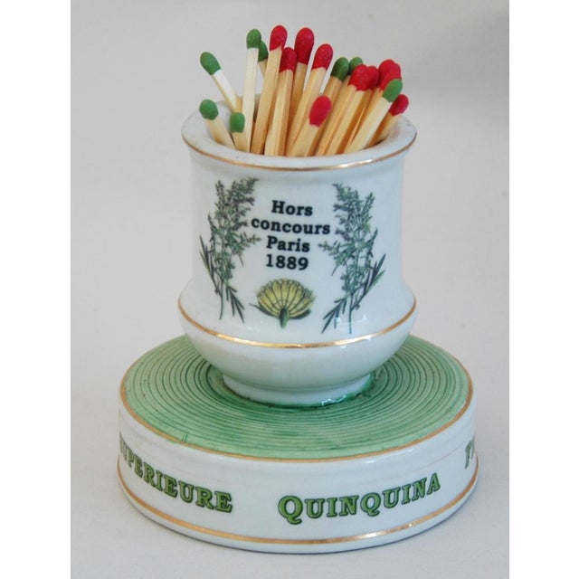 Green Early 1900s French Porcelain Match Striker & Holder For Sale - Image 8 of 11