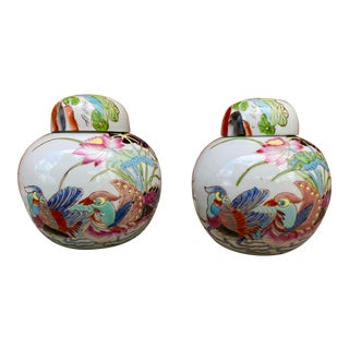 Vintage Chinoiserie Famille Rose Lidded Jars - a Pair For Sale