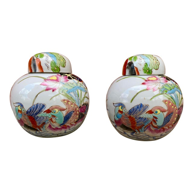 Vintage Chinoiserie Lidded Jars - a Pair For Sale