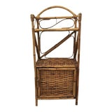 Image of 1970s Boho Chic Bamboo and Wicker Cabinet For Sale