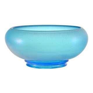 Blue Iridescent Satin Glass Bowl For Sale