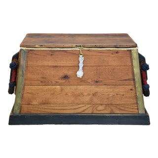Seaman's Trunk Chest W/ Braided Rope Handles For Sale