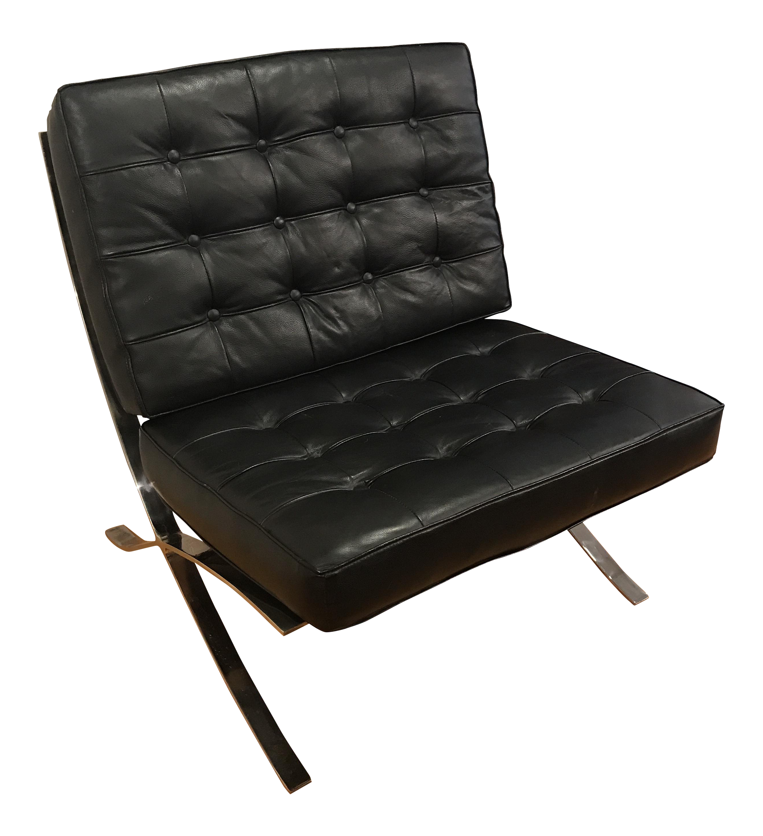 Superbe Vintage Barcelona Style Leather Chair, After Mies Van Der Rohe