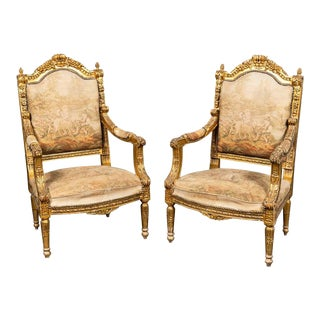 Antique Neoclassical Style Gilt Armchairs - a Pair For Sale