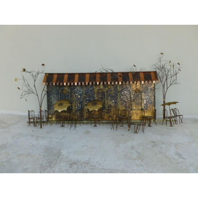 1970s Large 1970's Curtis Jere Brass and Copper Cafe Wall Sculpture For Sale - Image 5 of 6