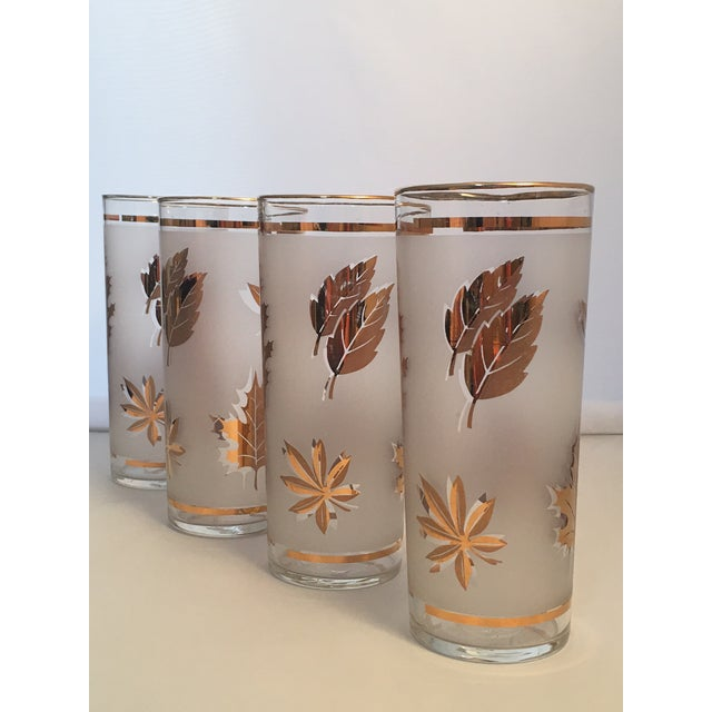 Vintage Gold Leaf Frosted Glassware - Set of 16 - Image 5 of 11