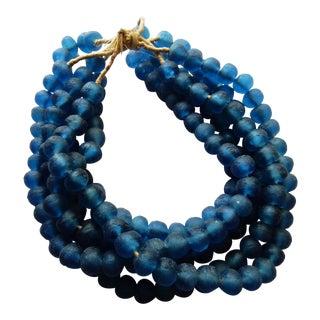 Jumbo Blue Glass Trade Bead Strands,S/5 160 Beads