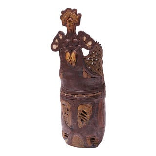 """1975 Crude Studio Stoneware """"Angel"""" Vase by Pollack For Sale"""