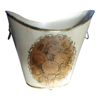 Regency Style Tole and Decoupage Waste Can For Sale