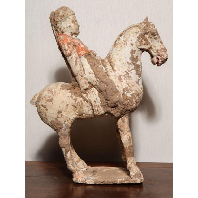 Asian 8th Century Tang Dynasty Chinese Terracotta Horse and Rider with Original Paint For Sale - Image 3 of 10