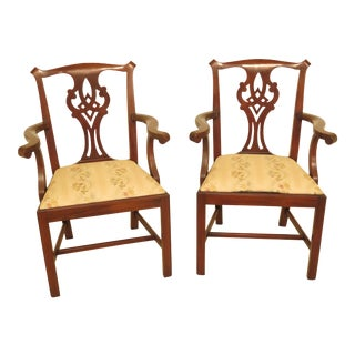 1980s Vintage Henkel Harris Model #101 Mahogany Chippendale Arm Chairs- A Pair For Sale