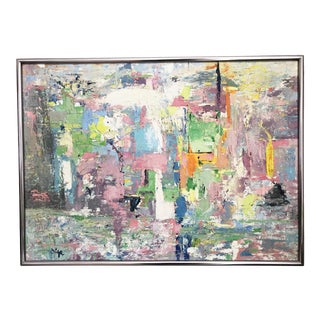 Colorful Vintage Abstract Impasto Oil Painting by Olga For Sale
